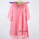 f026-45-50-เสื้อผ้าคนอ้วน ผ้าซีฟองสีชมพู ช่วงคอแต่งดอกไม้ แขนสามส่วนช่วงปลายบานนิดๆ ซับในทั้งตัว สวยสุดๆเลยค่ะ รอบอก 50 นิ้ว