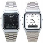 นาฬิกา CASIO นาฬิกาคู่ เรือนทอง เรือนเงิน รุ่น AQ-230A-1D หน้าปัดสีดำ กับ AQ-230A-7D หน้าปัดสีขาว