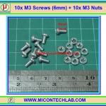 10x M3* 6mm Screws + 10x M3 Nuts (สกรูหัวกลม+น็อตตัวเมีย ขนาด 3มม ยาว 6มม)