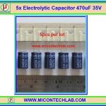 5x คาปาซิเตอร์ Electrolytic Capacitor 470uF 35V