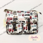 กระเป๋าสะพาย Chalita wu สีขาว ลายลอนดอน