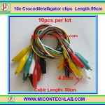 10x Cable Wire Crocodile Clips Length: 50cm (10pcs per lot)