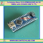 1x แผงวงจร Arduino Nano V3.0 ATMEGA328P-AU 5V 16MHz CH340G