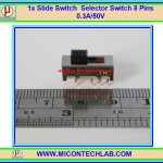 1x Vertical Slide Switch Selector Switch 8 Pins 0.3A/50V 2P2T