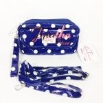 กระเป๋าคล้องมือ + สายสะพาย Chalita wu สีน้ำเงิน ลายจุด