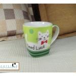 แก้วมักเซรามิคฐานเหลี่ยมรูปแมวขาว (Good Luck)