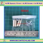 4x M3 Spacers 18 mm + 4x M3 Screws + 4x M3 Nuts (เสารองพีซีบีแบบปลายผู้เมีย 18 มม)