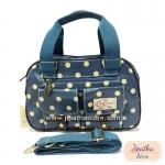 กระเป๋า Chalita wu + สะพาย สีฟ้า ลายจุด