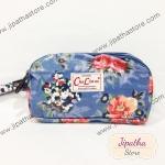กระเป๋าคล้องมือ Chalita wu สีฟ้า ลายดอกไม้