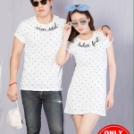 """เสื้อคู่ เสื้อคู่รัก ชุดคู่รัก เสื้อคู่รักเกาหลี เสื้อคู่แฟชั่น ลาย """"Men said Ladies First"""" ADX011"""