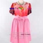 fh002-ชุดไปงานคนอ้วน ผ้าซีฟองสีชมพู ช่วงตัวเสื้อพิมพ์ลายผีเสื้อ แขนตุ๊กตา รอบอก 42 นิ้ว