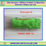 100x Resistor 1 MOhm 1/4 Watt 1% Metal film Resistor (100pcs per lot)