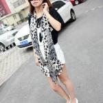 ผ้าพันคอชีฟอง ลายเสือดาวสีดำ ( รหัส P14 )