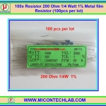 100x Resistor 200 Ohm 1/4 Watt 1% Metal film Resistor (100pcs per lot)