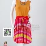 pd2620 - ชุดเดรสทำงานทูโทน ตัวเสื้อผ้าสีเหลืองไพร ช่วงกระโปรงผ้าพิมพ์ลาย ซับในช่วงกระโปรง สวยสุดๆเลยค่ะ
