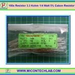 100x Resistor 3.3 Kohm 1/4 Watt 5% Cabon Resistor