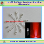 10x LED Red Water Clear Super Bright 3mm (10pcs per lot)