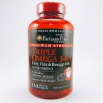 Puritan's Pride, Maximum Strength Triple Omega 3-6-9 Fish, Flax & Borage Oils 120 Softgels