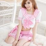 พร้อมส่ง / ชุดนักเรียนสีชมพู น่ารักสดใส พร้อมจีสตริง