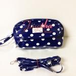 กระเป๋าคล้องมือ + สายสะพาย Chalita wu สี้น้ำเงิน ลายจุด