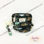 กระเป๋าคล้องมือ+ สะพาย 3 ช่องใบเล็ก สีดำ ลายนกฮูก