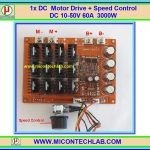 1x Power MOSFET DC Motor Drive + Speed Control DC 10-50V 60A 3000W