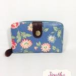 กระเป๋าสตางค์ Chalita wu สีฟ้า ลายดอกไม้