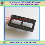 "1x IC Socket DIP 28 PINS 15.24mm/0.6"" PITCH 2.54mm NARROW TYPE"