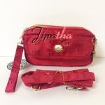 กระเป๋าคล้องมือ+สายสะพาย Lingky ผ้าทอ สีแดง