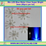 50x LED Blue Water Clear Super Bright 3mm (50pcs per lot)