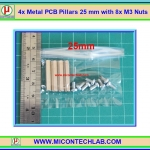 4x Metal PCB Pillars 25 mm with 8x M3 Nuts (เสารองแผ่นพีซีบีโลหะแบบเหลี่ยมพร้อมน็อตยึด)