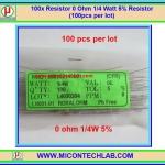 100x Resistor 0 Ohm 1/4 Watt 5% Cabon Resistor