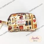กระเป๋าคล้องมือ Chalita wu สีครีม ลายวินเทจ