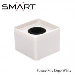 Microphone Logo SMART Square Mic Logo เพลทติดโลโก้ สี่เหลี่ยม พร้อมฟองน้ำซับใน - White