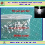 10x แอลอีดี ขนาด 5 มม. สีขาว แบบใส LED 5mm Super Bright