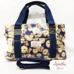 กระเป๋า Chalita wu + สายสะพาย 3 ซิป สีกรม ลายนาฬิกา