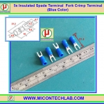 5x Insulated Spade Terminal Fork Crimp Terminal Blue Color (หางปลาแฉกหุ้ม)