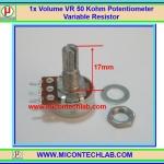 1x Volume VR 50 Kohm (15mm) Potentiometer Variable Resistor
