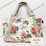 กระเป๋าถือ สะพายไหล่ Chalita wu สีครีม ลายดอกไม้