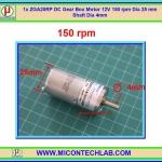 1x ZGA25RP DC Gear Box Motor 12V 150 rpm Dia 25 mm Shaft Dia 4mm