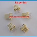 5x WAFER CONNECTOR 4 PINS RIGHT ANGLE TYPE 2.54mm (5pcs per lot)