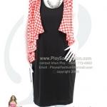hd1382 - เดรสสั้นหรู ชิ้นในผ้าเกาหลีสีดำ ชิ้นนอกสไตล์เสื้อคลุมผ้าเกาหลีพิมพ์ลายตารางสีส้ม-ขาว ซับในทั้งตัว สวยหรูดูดีค่ะ