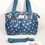กระเป๋า Chalita wu + สายสะพาย สีฟ้า ลายจุด