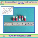 5x Insulated Spade Terminal Fork Crimp Terminal Red Color (หางปลาแฉกหุ้ม)