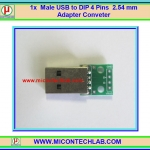 1x Male USB to DIP 4 Pins 2.54 mm Adapter Conveter