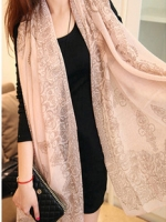 ผ้าพันคอผ้าฝ้าย สีชมพู