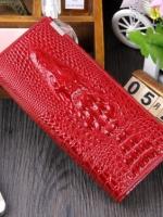 กระเป๋าสตางค์หนังแท้ 100% (หนังจระเข้ด้านนอก+หนังวัวด้านใน) สีแดง