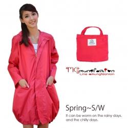 เสื้อกันฝนเนื้อผ้า สีชมพูแดง