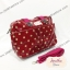 กระเป๋า Chalita wu + สะพาย ใบใหญ่ สีเลือดหมู ลายจุด thumbnail 2