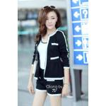 N2S499-854-375 Chanel Black Stripe Outer Set